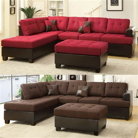 Large Chaise Sofa 3 pcs large living room reversible sectional sofa chaise