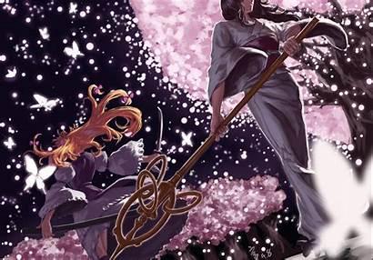 Touhou Kimono Cherry Blossoms Yuyuko Anime Hair