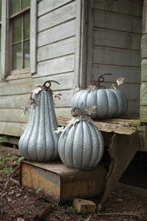 galvanized pumpkin  rustic detail