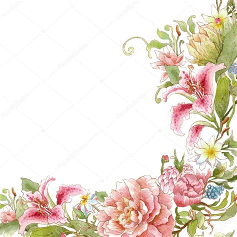 watercolor floral card template stock photo  yaskii