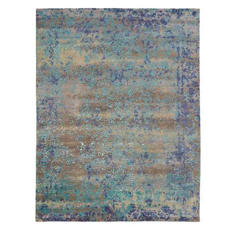 tapis prestige bleu en laine  soie de bambou de luxe heritage par angelo