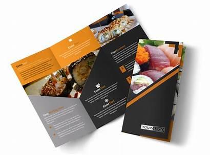 Brochure Restaurant Template Sushi Fold Tri Outstanding