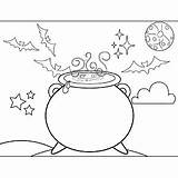 Cauldron Witch Coloring Witches Pages Halloween Printable Freeprintablecoloringpages Printables Template sketch template