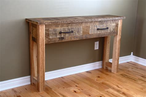 Narrow Rustic Distressed Wood Console Table Made From