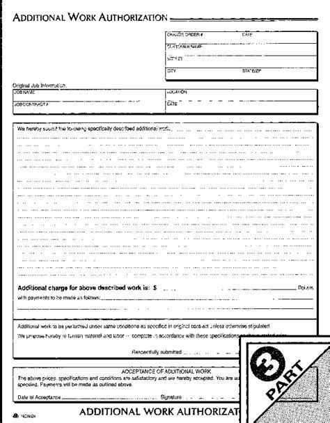 Additional work authorization template costumepartyrun adam nc3824 additional work authorization form 3 part maxwellsz