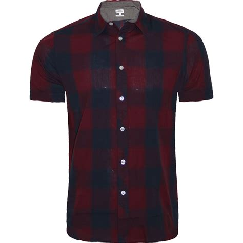 mens  short sleeve casual check print smart cotton