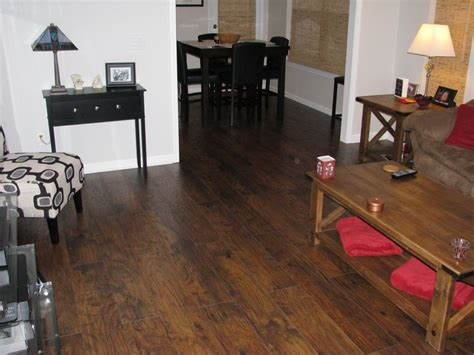 Trafficmaster Glueless Laminate Flooring Alameda Hickory by New Saratoga Hickory Scraped Flooring Throughout
