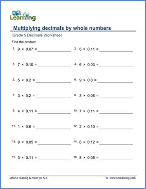 grade 5 math worksheet multiplying 2 digit decimals by