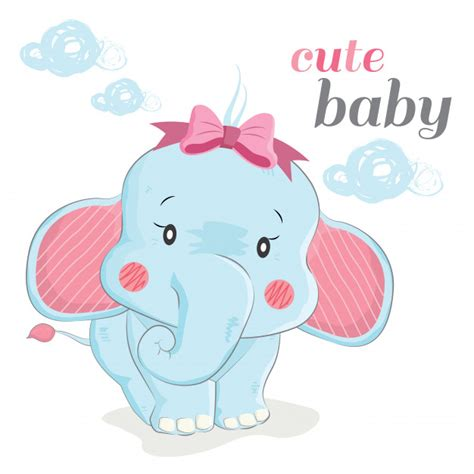 cute baby elephant vector premium