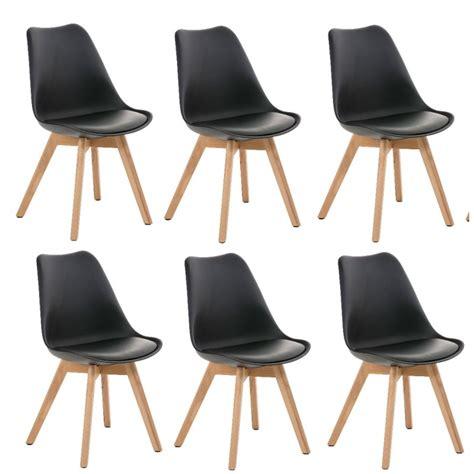 chaise salle a manger noir lot de 6 chaises de salle à manger scandinave simili cuir