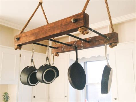 Pot And Pan Holders Ceiling by Pin By Brandon On Log Houses Rustic Kitchen Design