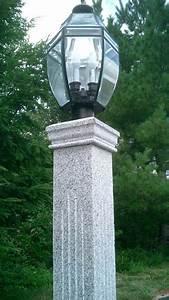 Grey, Granite, Lantern, Post, With, Fluted, Finish