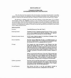 convertible note term sheet template 28 images With convertible note term sheet template