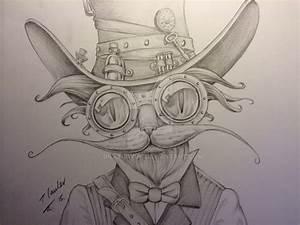 Steampunk cat blue pencil drawing by billyboyuk on ...