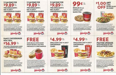 promo cuisine wendys food coupon sheets printable coupons