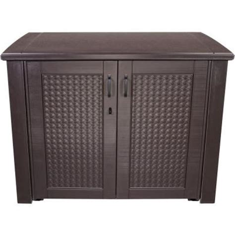 Rubbermaid Deck Box Home Hardware by Rubbermaid 123 Gal Chic Basket Weave Patio Storage Deck
