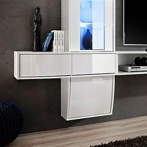 Meuble Design Tv Mural : meuble tv mural design comet i blanc ~ Teatrodelosmanantiales.com Idées de Décoration