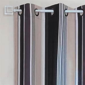 Rideau A Oeillet : rideau oeillets lorette rayures noir rideau tamisant ~ Dallasstarsshop.com Idées de Décoration