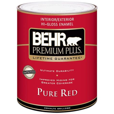 Behr Premium Plus 1qt Pure Red Higloss Enamel Interior