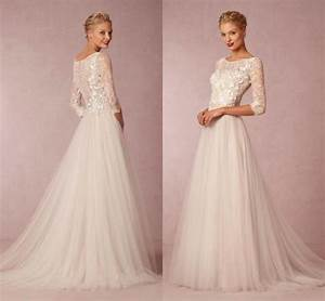 2015 modest wedding dresses with half sleeves garden sheer With tznius wedding gowns online