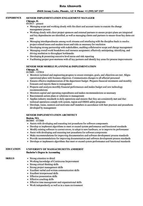 Implementation Consultant Resume by Senior Implementation Resume Sles Velvet