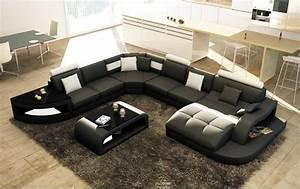 C Discount Canape : canap d 39 angle design panoramique istanbul noir et blanc canap cdiscount ~ Teatrodelosmanantiales.com Idées de Décoration