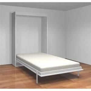 Lit Escamotable Armoire : teo armoire lit escamotable 140 cm blanc mat achat ~ Premium-room.com Idées de Décoration