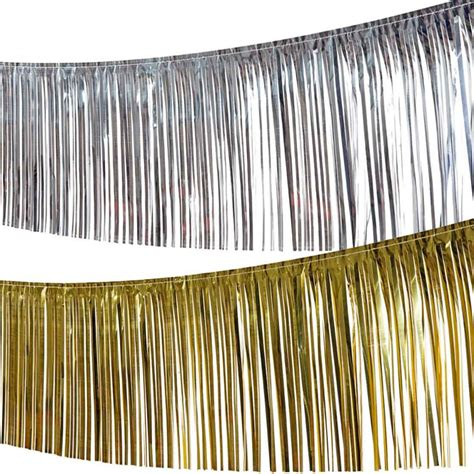 deko gold silber lametta girlande deko fransengirlande foliengirlande glitzergirlande dekogirlande