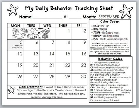 Behavior Calendar Template I Am Going To Tweak This To Fit My Class  Classroom Positives And