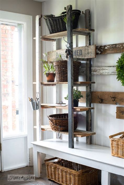 quirky  ladder shelving   entry funky home decor