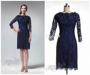 Cheap Casual Navy Blue Lace Modest Bridesmaid Dresses With ...