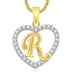 amazoncom meenaz womens  letter heart gold plated