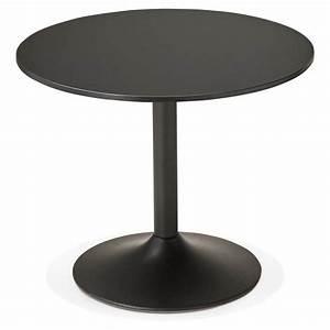 Petite Table Pas Cher : table de repas ou bureau ronde design nils en bois et m tal peint 90 cm noir ~ Carolinahurricanesstore.com Idées de Décoration