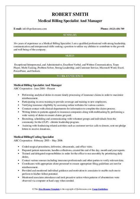 medical billing specialist resume samples qwikresume