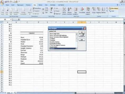 descriptive statistics  data analysis tool  excel