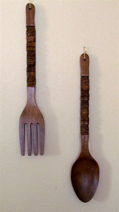 Melted plastic spoon roses craft. Large Wood Fork & Spoon Tiki Wall Decor