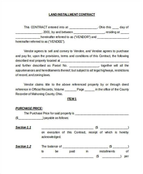 land contract template contract form templates