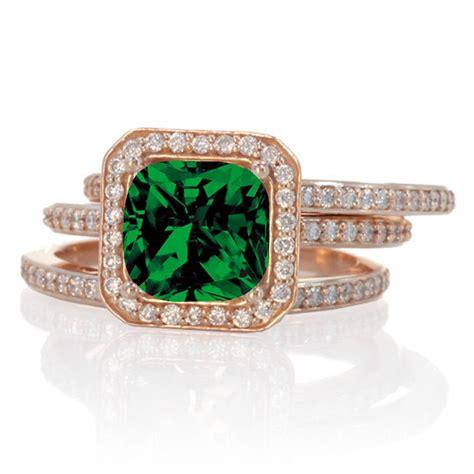carat perfect princess cut emerald  diamond trio