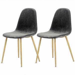 Chaise Velours Gris : chaise fredrik en velours gris lot de 2 adoptez les chaises fredrik en velours gris lot de 2 ~ Teatrodelosmanantiales.com Idées de Décoration