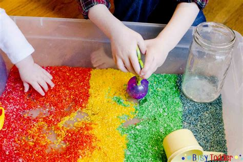 rice activities for preschoolers rainbow rice sensory bin busy toddler 410