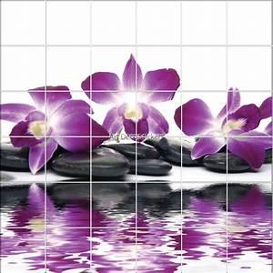 Stickers carrelage mural deco fleur orchidee et galets zen for Salle de bain design avec décoration murale stickers muraux autocollants