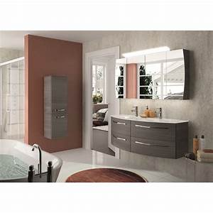 Meuble De Salle : meuble de salle de bains image decor gris graphite 130 cm leroy merlin ~ Nature-et-papiers.com Idées de Décoration