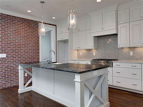X Based Kitchen Island with Soapstone Countertop