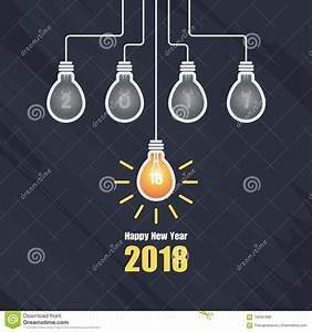 Happy New Year 2018 With Light Bulb Illustration Stock