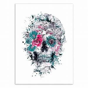 Tete De Mort Fleur : affiche d 39 art tableau poster design illustration t te de mort fleurs ~ Mglfilm.com Idées de Décoration
