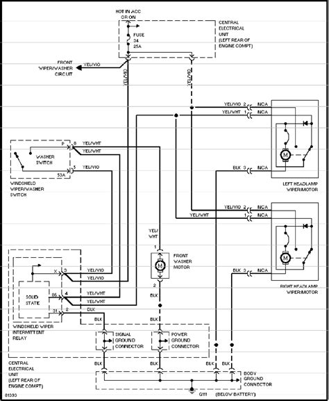 1995 10 Headlight Wiring Diagram by Volvo 850 Wiper Washer System Service Manual