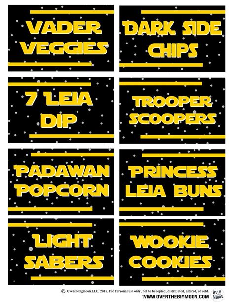 STAR WARS PARTY PRINTABLES + THEMED FOOD TAGS | Star wars ...