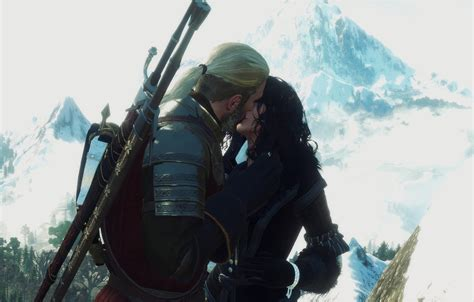 wallpaper kiss  witcher  witcher  geralt