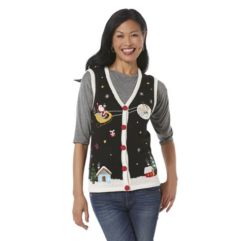 holiday editions womens christmas sweater vest santas