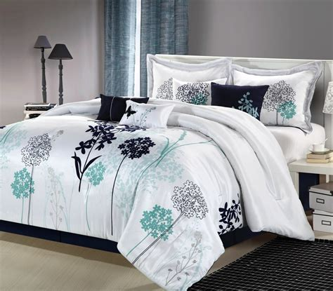 12pc oasis white navy teal luxury bedding set cal king